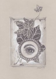 Stillleben with lovers eye and ivy in a box
