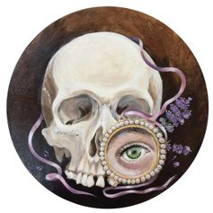 Stilllife with skull, lavender, pink silk ribbon and a lovers eye