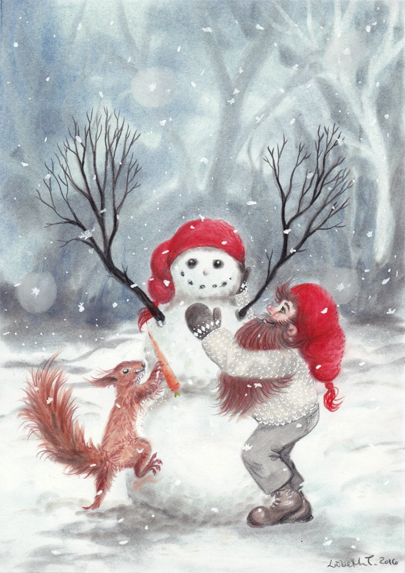 Gnome and squirrel building a snowman - Christmas