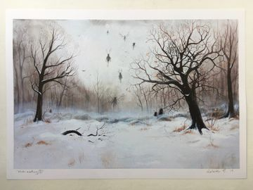 "Hand embellished art print, ""Winter meeting no 1"""