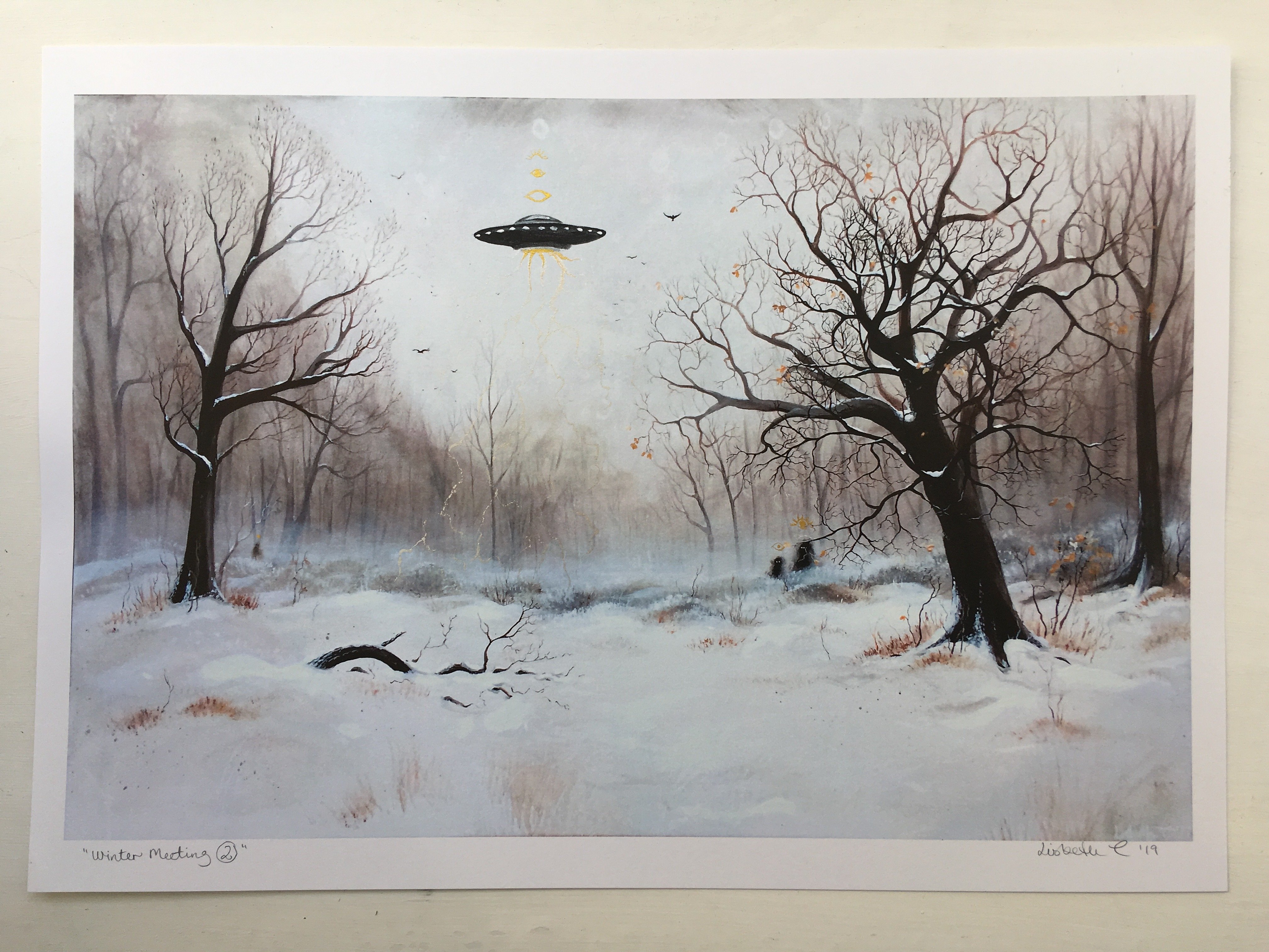 "Hand embellished art print, ""Winter meeting no 2"""